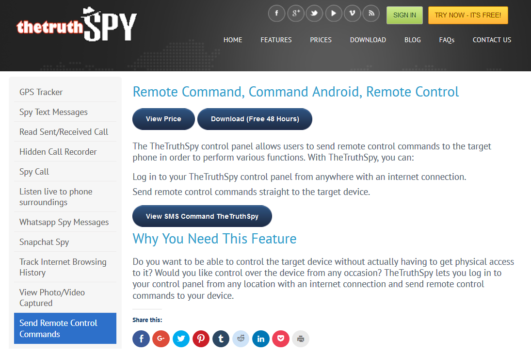 TheTruthSpy Remote Control Feature