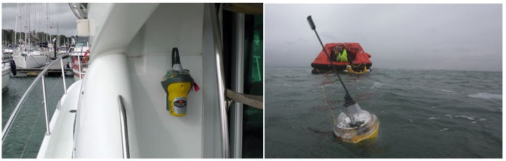 The Smartfind Plus/G5 GPS EPRIB installed on the boat (left) and floating in the seas (right)